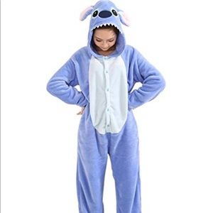 UNISEX ADULT BUTTON UP LILO & STITCH ONESIE